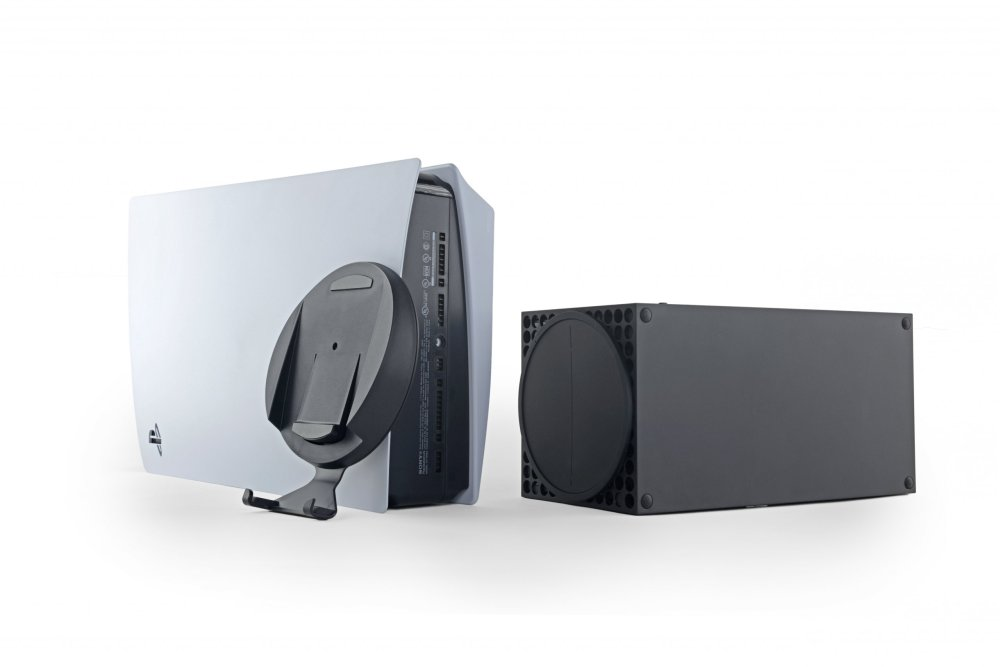 PS5 and Xbox Series X on their sides, stand removed from PS5