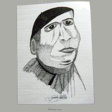 El protagonista del artículo, en un dibujo de Julio Estellés publicado en el libro 'Los guerrilleros. Esperanza del pueblo'.