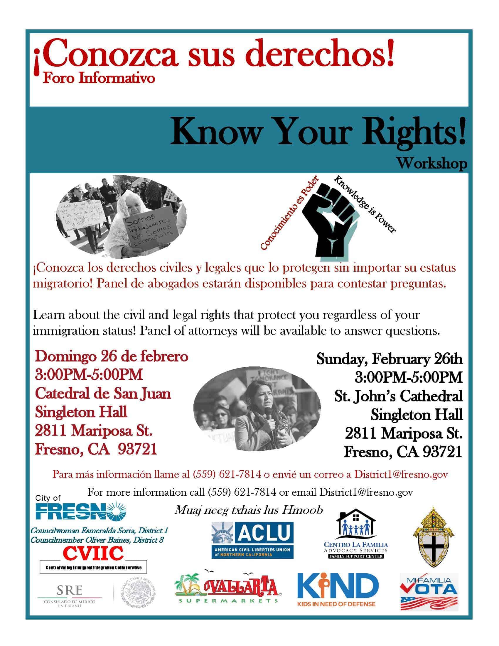 Foro Informativo en Fresno Sobre Derechos de Inmigrantes 26 Febrero 2017 Catedral de San Juan