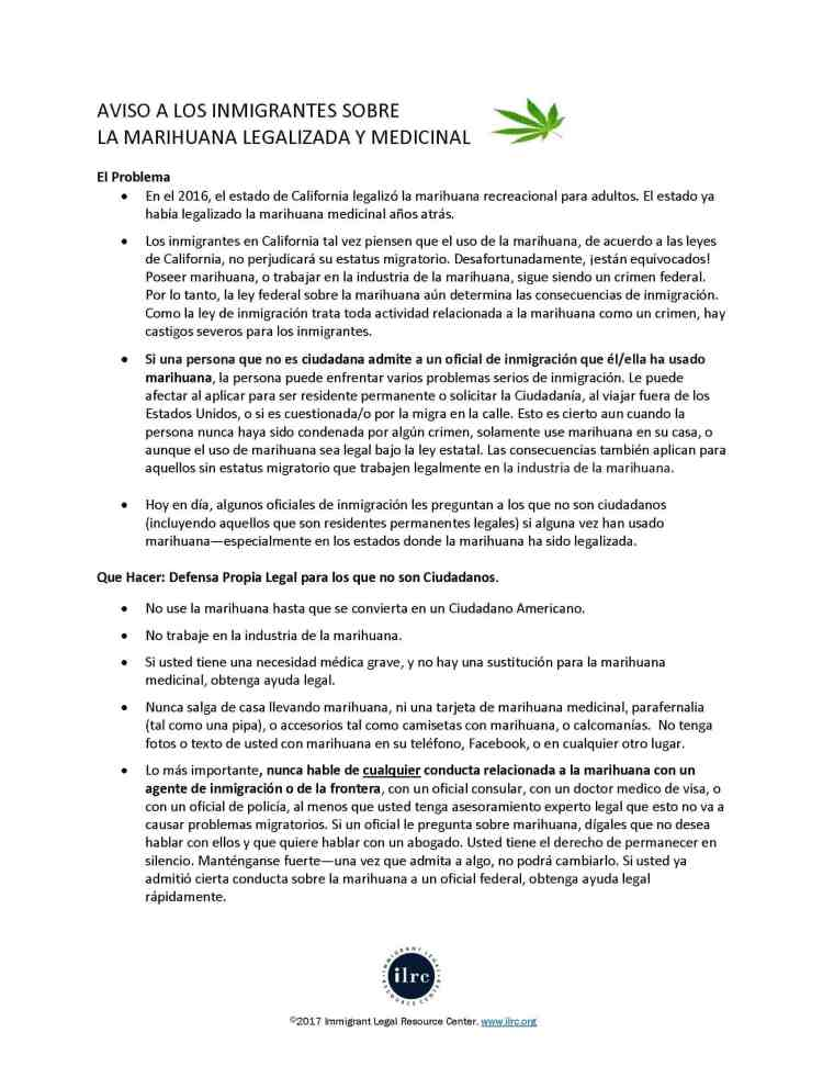 Inmigrantes y la Marihuana ILRC Guia Informativa