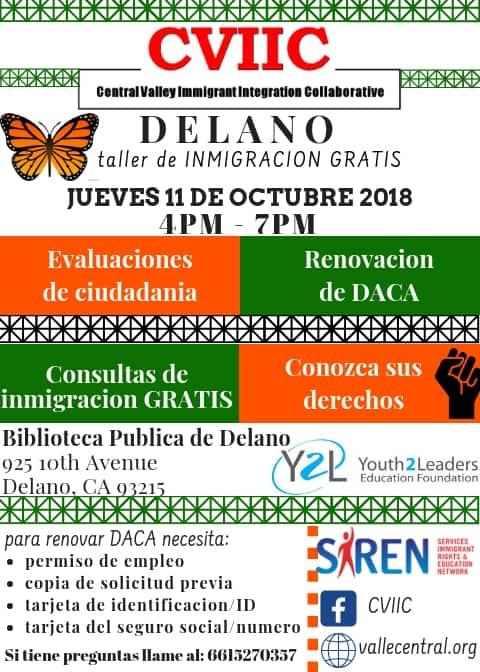 Taller de Evaluacion para la Ciudadania y Renovacion de DACA en Delano 11 de Octubre 2018