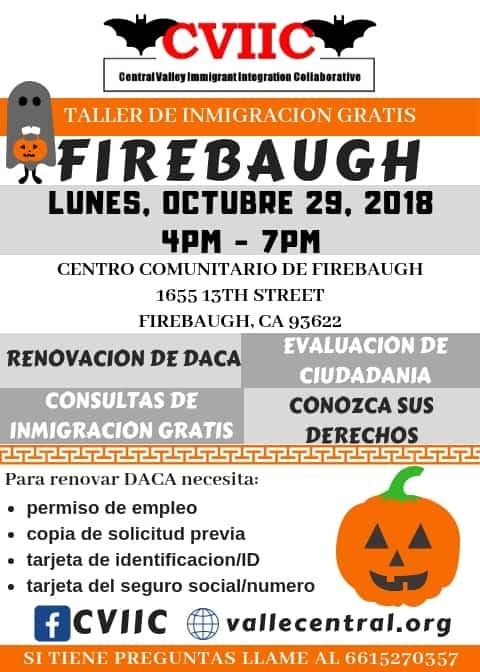 Taller de Ciudadania y Renovacion de DACA en Firebaugh 29 de Octubre 2018