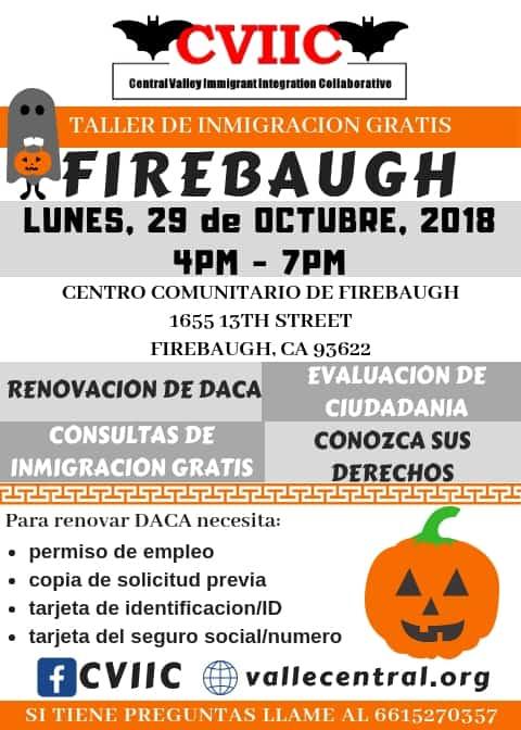 Taller de Ciudadanía y Renovación de DACA en Firebaugh 29 de Octubre 2018