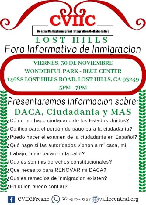 Foro Informativo de Inmigracion en Lost Hills 30 de Noviembre 2018