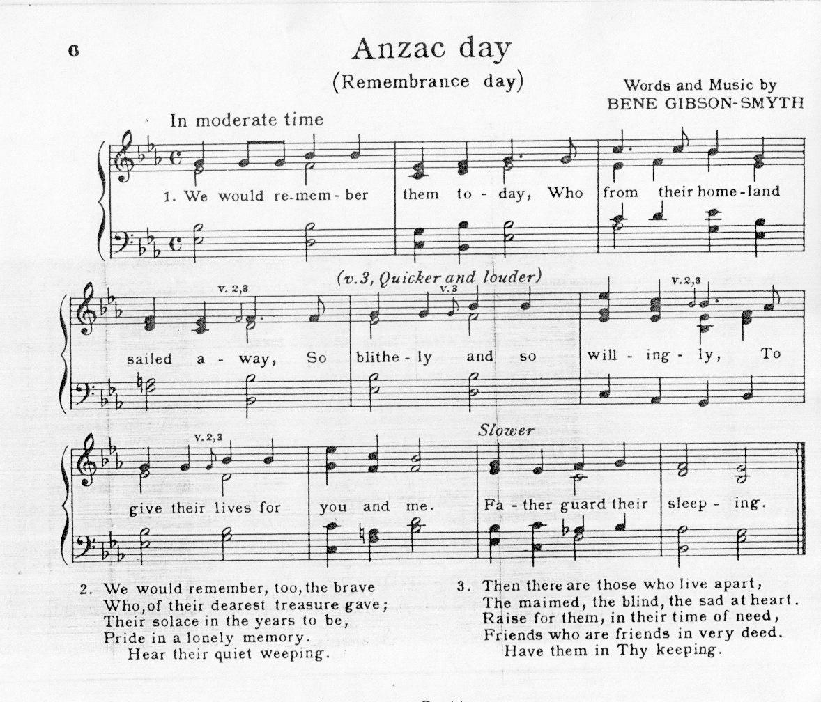 ANZAC DAY SONG Bene Gibson-Smyth