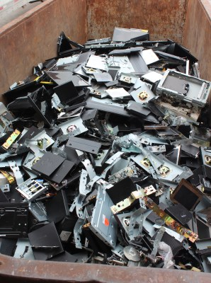Salvaged aluminum from old computers is sent to recyclers by the truck load. (VBR)