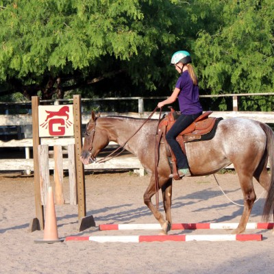 JHK Equestrian Country Club owner Jamie Ricks instructs a student in the riding arena. (VBR)