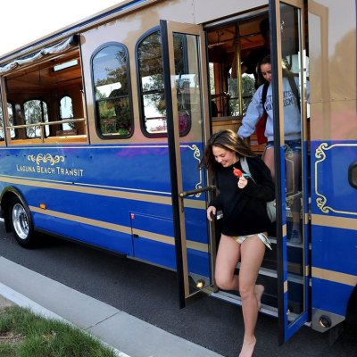 The City of Edinburg is making financial moves to bring electric bus trolleys to the city, similar in design to this vehicle operated by Laguna Beach Transit in California. (photo Hometown Trolley)