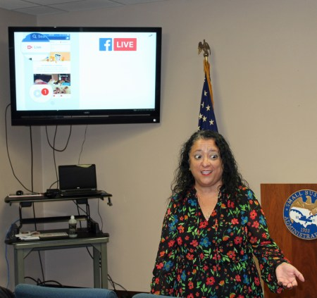 SCORE volunteer Rebecca Esparza talks about digital marketing during a seminar hosted by the Small Business Administration in Harlingen.