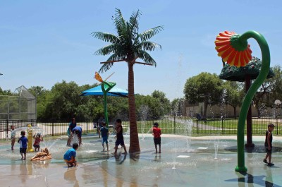 Water features reflecting the Valley's flora and fauna highlight the splash pad in Alamo Nature Park. (VBR)