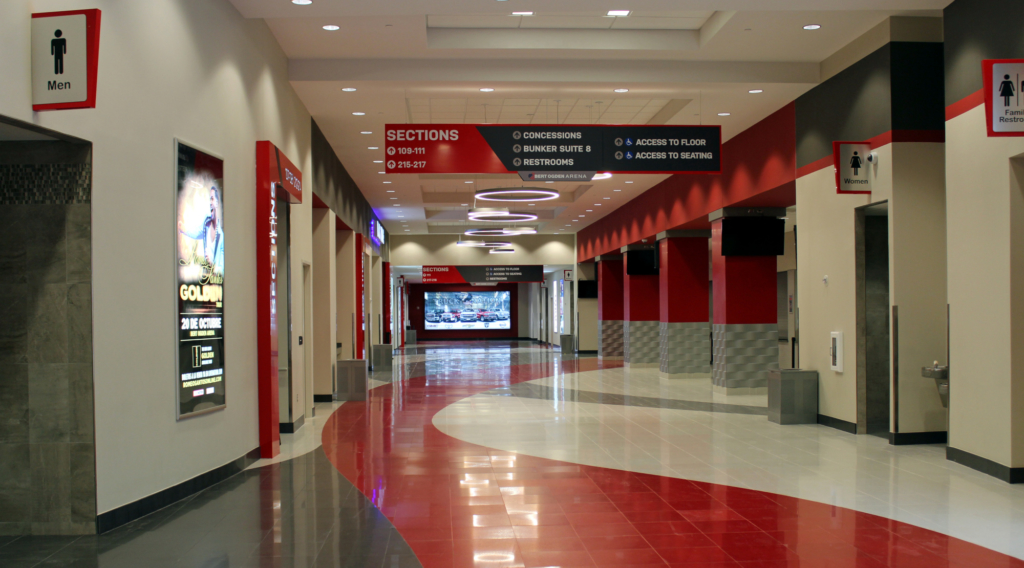 A wide concourse on the arena's ground floor was designed for ease of movement and has access to restrooms and concessions. (VBR)