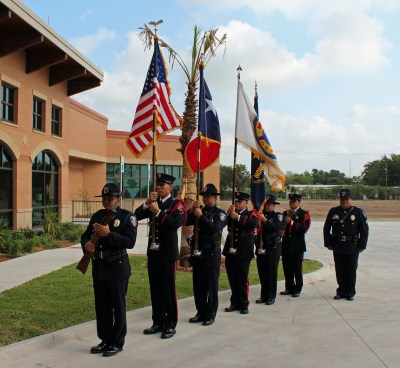 The color guard of officers from the Harlingen police and fire departments (VBR)
