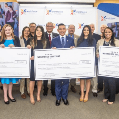 The Texas Workforce Commission presents more than $300,000 in grant funding to the Lower Rio Grande Valley Workforce Development Board. The funds support projects in the board's partnership with STC, Edinburg EDC and Pharr EDC. (photo STC)