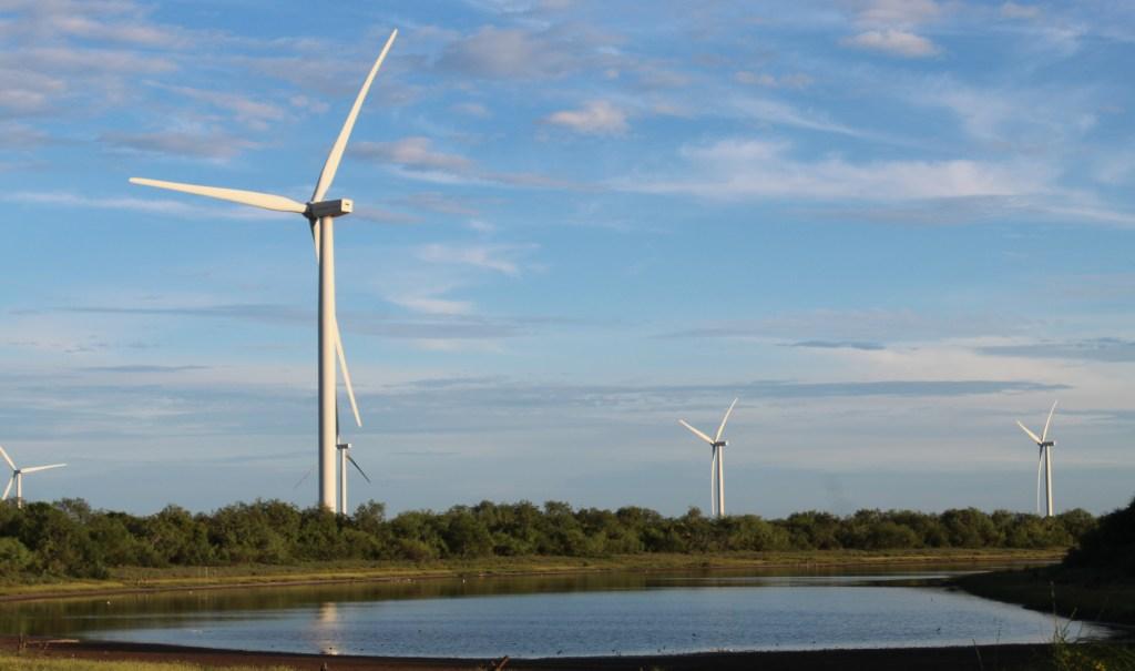 A turbine from a wind farm near Bayview.
