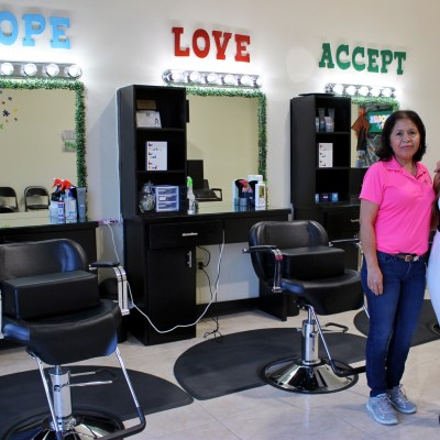 Alexia Saenz with her mother Lily Saenz, whose help got the salon running.