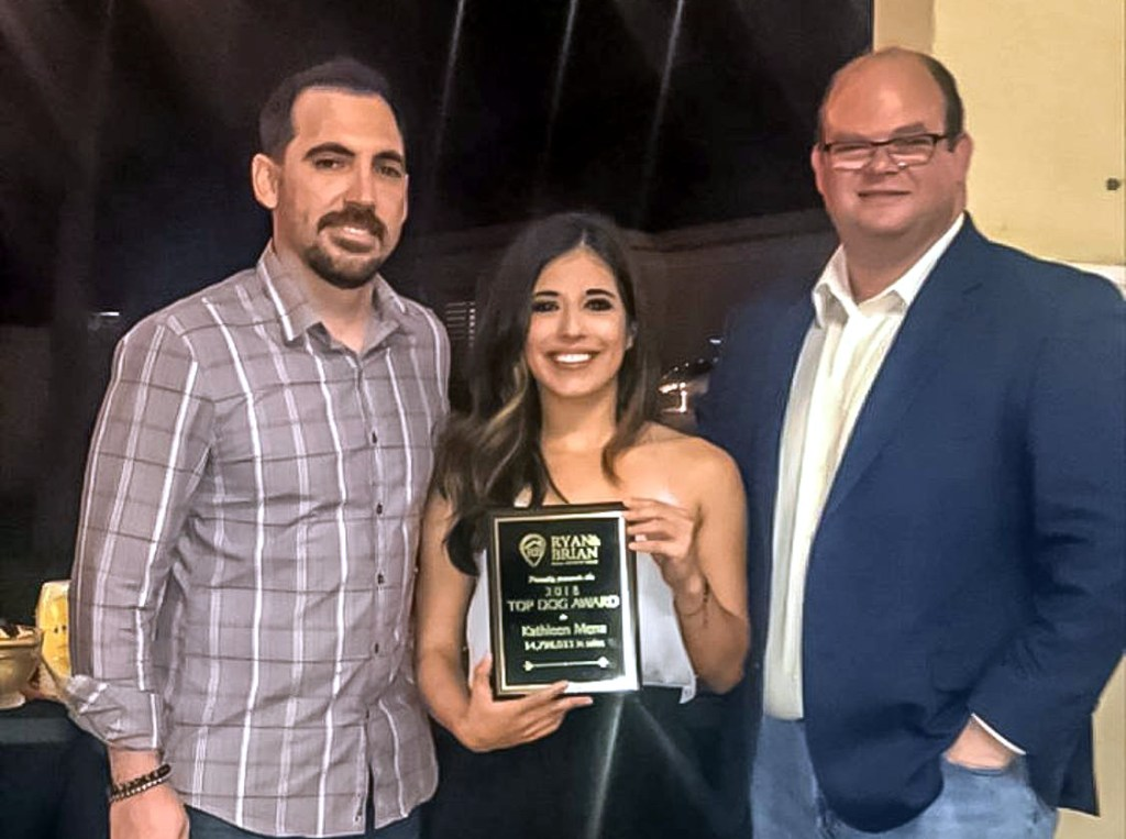 "Ryan and Brian held an award ceremony to recognize their team's achievements. Listing agent Kathleen Mena was honored with ""Top Dog"" for her dedication and success in 2018."