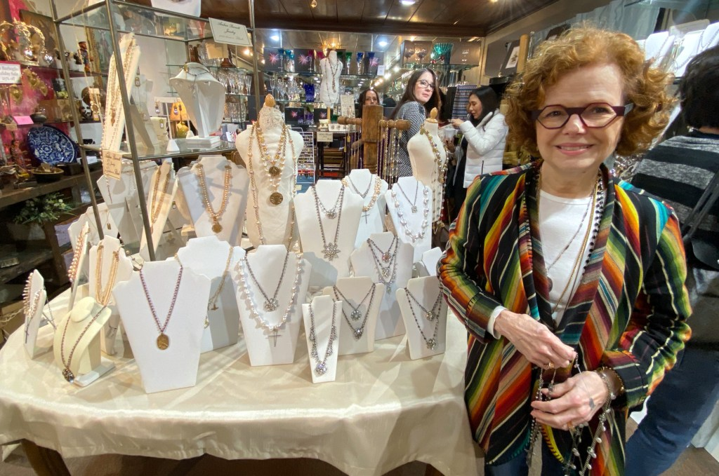 Jewelry Andrea Barnett shows off some of her hand-created designs.