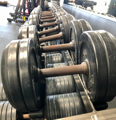 A row of barbells at the new Hardknox facility in Brownsville
