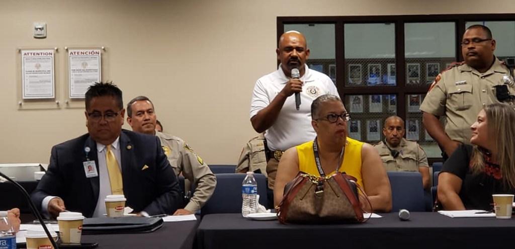 Juan Sifuentes, commander of the Hidalgo County DA HIDTA Task Force, speaks to fellow Hidalgo County Mental Health Coalition members at a meeting in 2019.