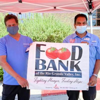 Dr. Murthy Badiga and Food Bank of the Rio Grande Valley CEO Stuart Haniff