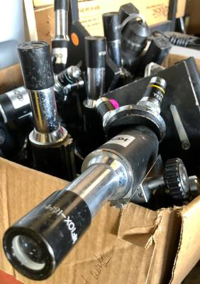 Microscopes are among the educational items at RGV Surplus.
