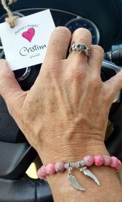 One of the original Monica's Angels' Cristina bracelets, a design by Andrea Escobar of Bead Craftworks in Brownsville.