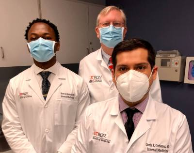 Dr. Baron Ekeledo, left, and Dr. Denis Gutierrez, right, are two of the resident physicians who work are under the direction of Dr. Timothy Heath as part of the new UTRGV Internal Medicine Residency Program at Knapp Medical Center in Weslaco.