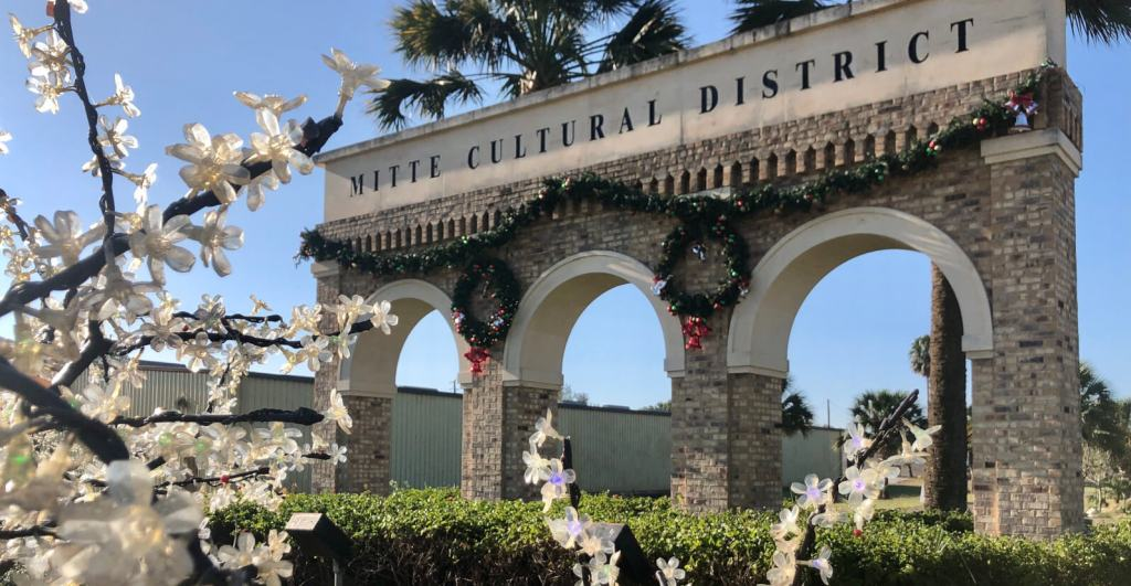 The entrance to the Mitte Cultural District is between 5th and 6th streets in Brownsville.