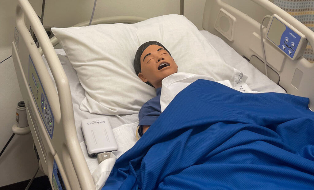 This lifelike simulator is one of the new pieces of technology in the TSTC Nursing program classroom. (photo TSTC)