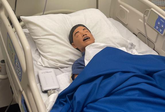"""This lifelike simulator (aptly named """"Junior"""" by students and faculty) is one of the new pieces of technology in the TSTC Nursing program classroom. (photo TSTC)"""