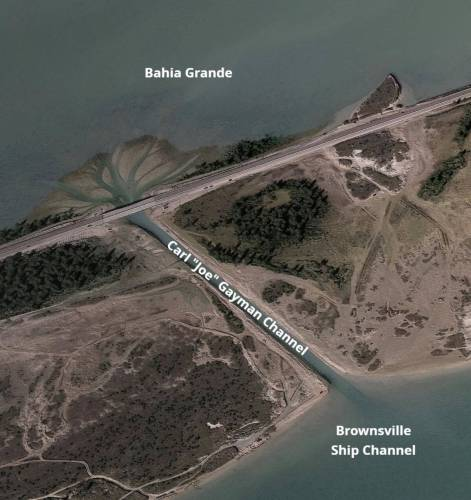 """This Google Maps aerial photo shows the Carl """"Joe"""" Gayman channel connecting the Bahia Grande with the Brownsville Ship Channel."""