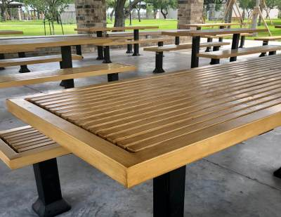 A large picnic pavilion is among the many attractive elements at the new Lon C. Hill Destination Park.