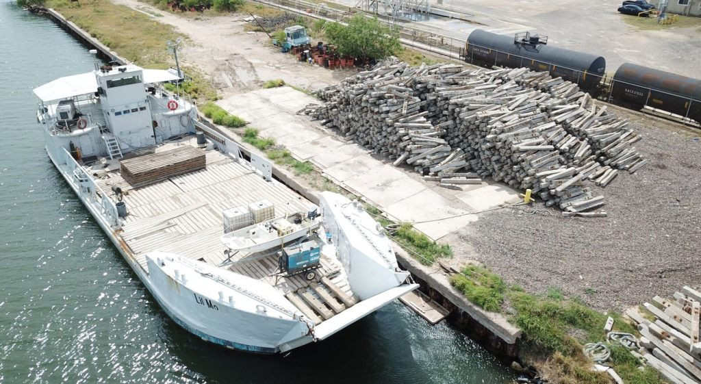 Concrete railroad ties at the Port of Brownsville create an artificial reef for the RGV Reef Project. (photo Port of Brownsville)