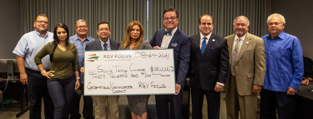 RGV Focus presents a $30,000 check to South Texas College for students pursuing workforce credentials on Aug. 24. (photo STC)