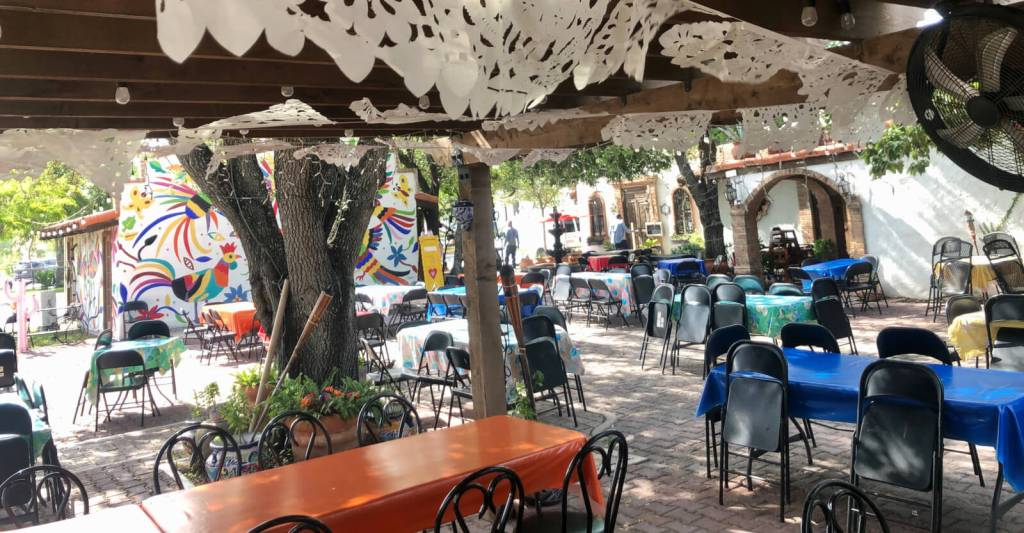 A colorful courtyard at Nana's Taqueria hosts weddings, family celebrations and live music at the Weslaco restaurant.