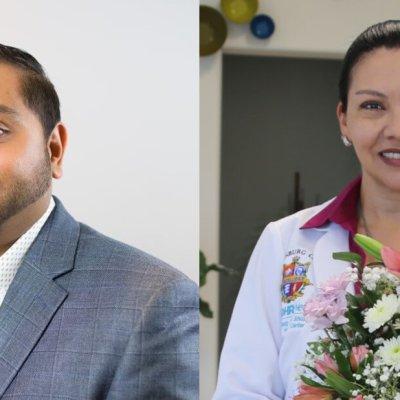 Edinburg Chamber of Commerce's 2021 Man and Woman of the Year Hiren Govind and Dr. Marissa I. Gomez-Martinez.