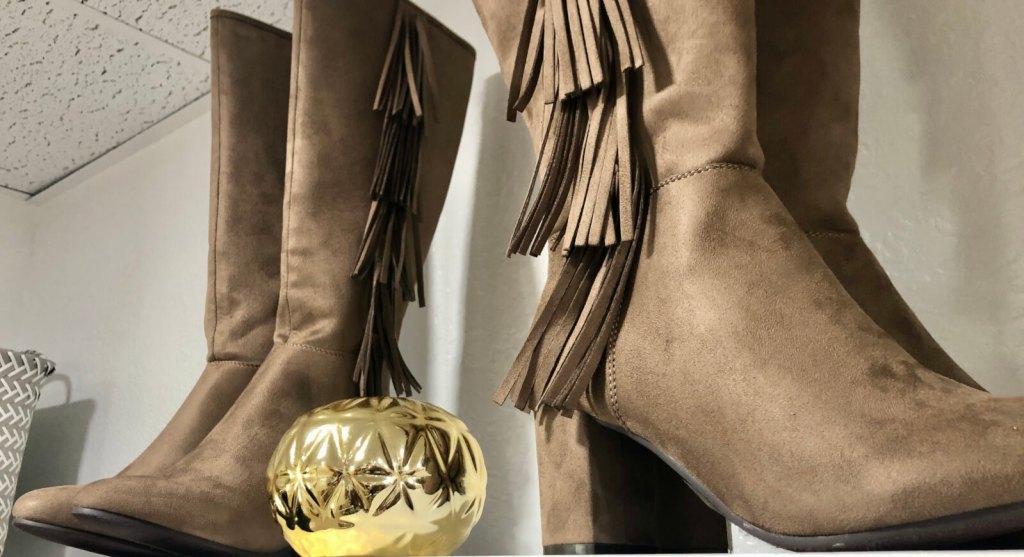 Golden ornaments intersperse between merchandise at the Brownsville boutique.