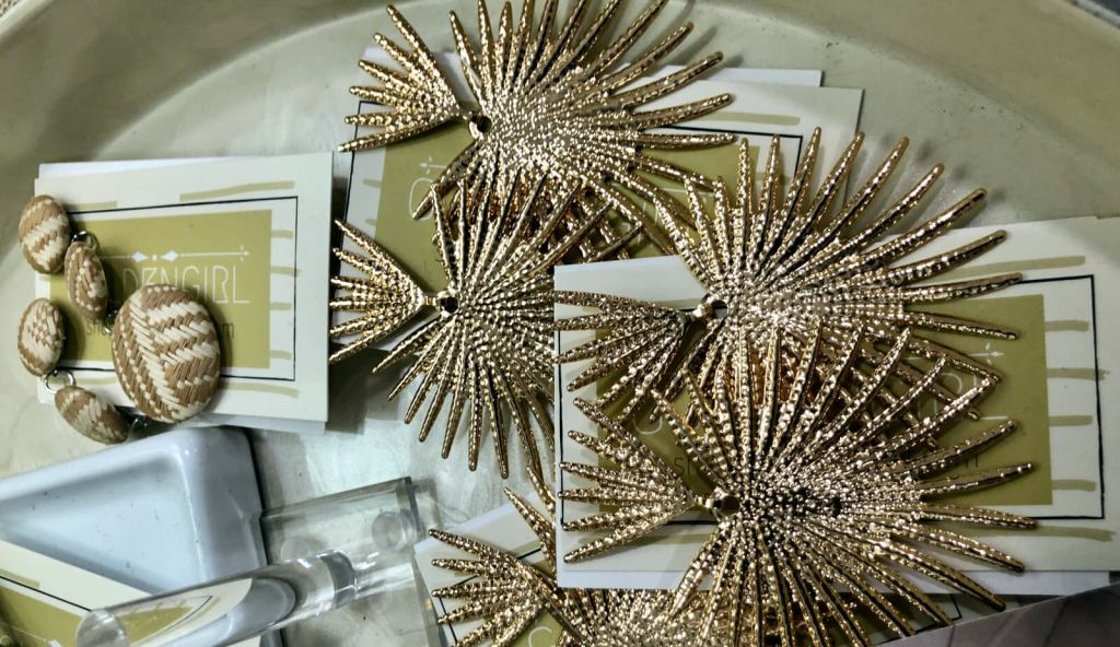 Earrings are among the accessories at the Golden Girl Boutique.