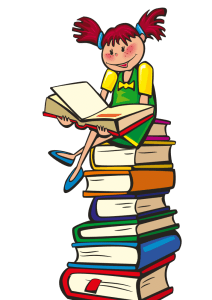 Drawing of child sitting on stack of books