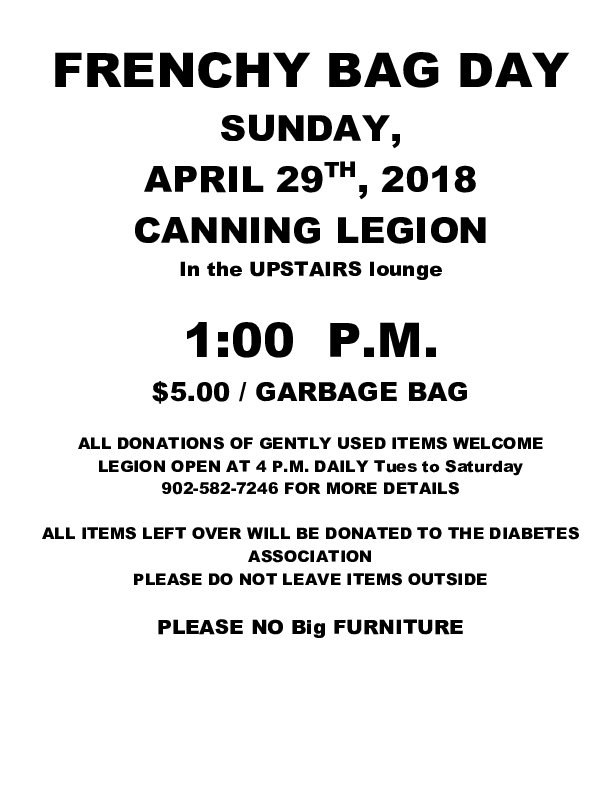 Frenchy Bag Day at Royal Canadian Legion, Canning (April