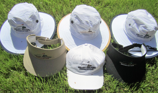 The VGA has a selection of hats with our logo. There are two styles of sun-protecting hats: white with a blue or tan stripe for $35, and white with a blue trim and chin tie for $30. There are also white golf hats for $15 and visors for $10. The hats are great quality and attractive. See Fred Baldwin for details.