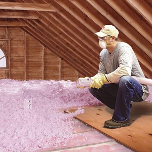 Blown insulation in Canmore.