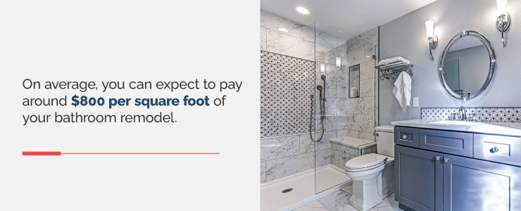 On average, you can expect to pay around $800 per square foot for a bathroom remodeling project.
