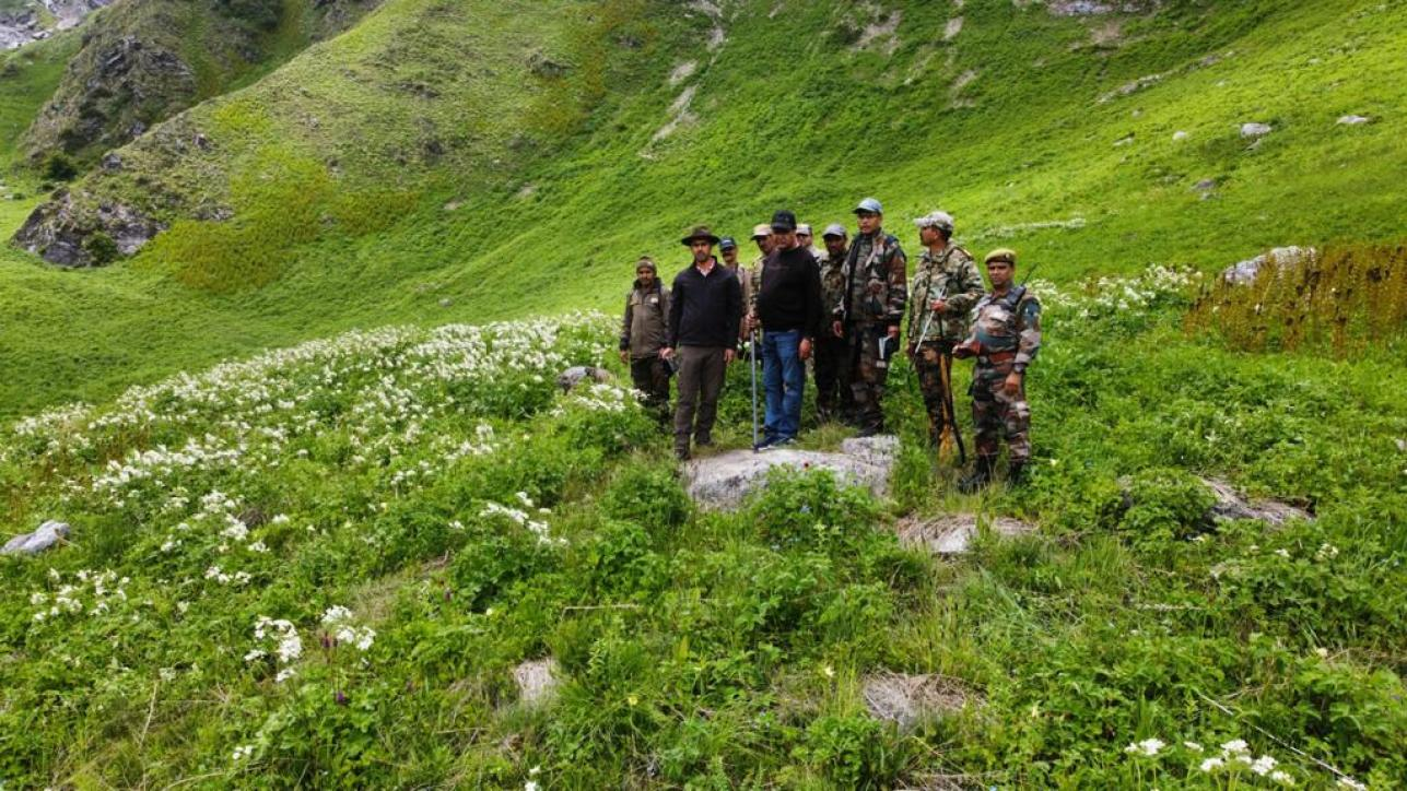 DFO N. B. Sharma Ji with his team inside the valley of flowers in 2021.