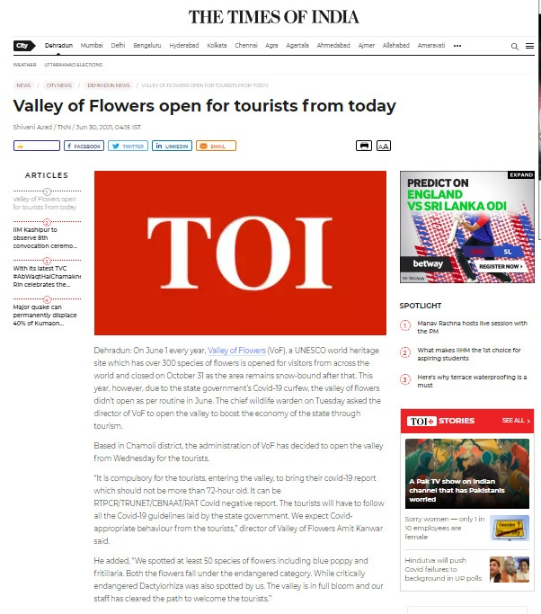 Times of India paper showing the valley of flowers opening date 2021