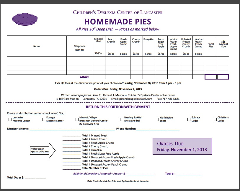 bake sale order form