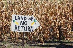 Sign in corn maze says Land of No Return