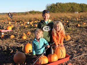 Kids with pumpkins