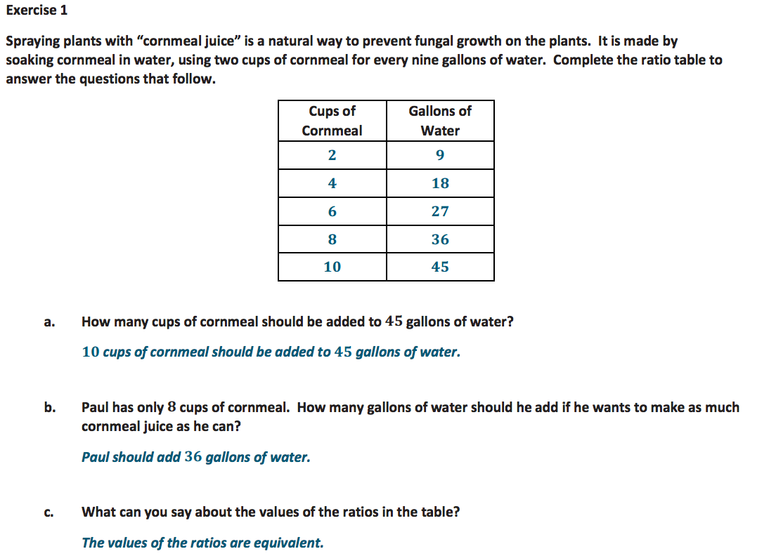 Ratio Table Problems 6th Grade
