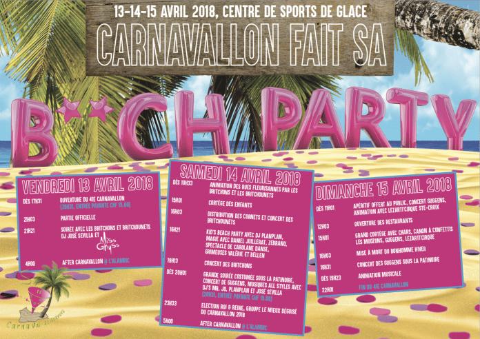 Le programme du Carnavallon 2018.